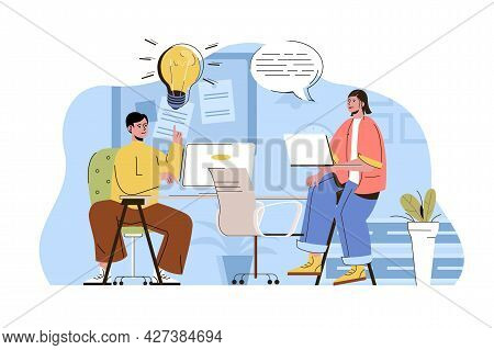 Coworking Office Concept. Employees Brainstorming And Working Together Situation. Coworker Or Collea