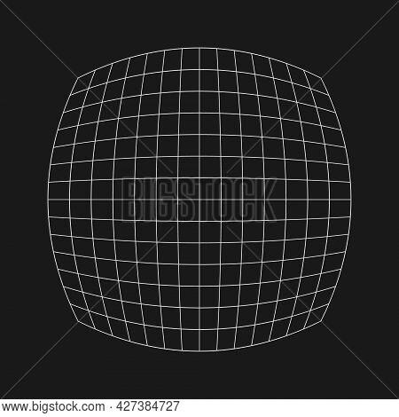 Digital Retro Cyber Grid With Fisheye Effect. Retrofuturistic Design Element. Grid In Cyberpunk 80s