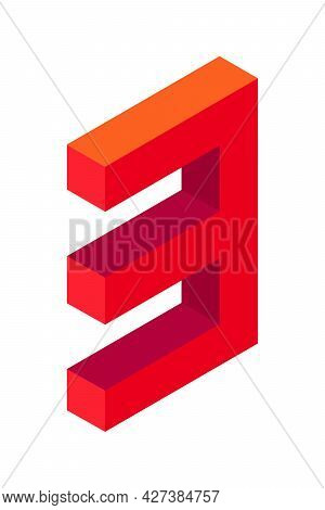 Red Number 3 In Isometric Style. Isolated On White Background. Learning Numbers, Serial Number, Pric