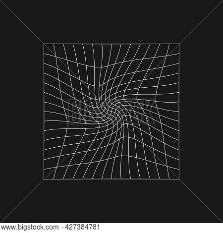 Retrofuturistic Cyberpunk Grid With A Twist In Center. Cyber Design Element. Distorted Grid In 80s S