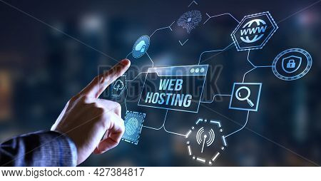 Internet, Business, Technology And Network Concept. Web Hosting. The Activity Of Providing Storage S