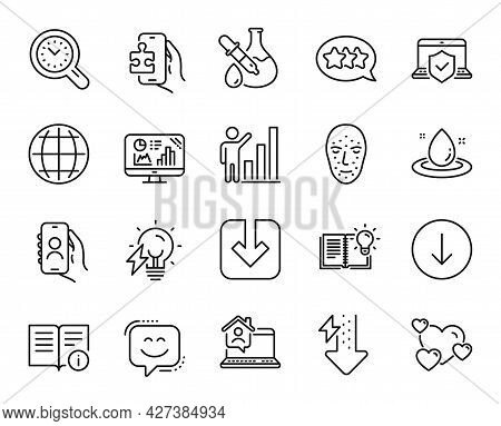 Vector Set Of Graph Chart, Heart And Technical Info Line Icons Set. Electricity Bulb, Stars And Puzz
