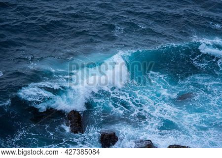 Ocean Waves Of Stunning Beauty. Concept: Pacification, Element, Peace