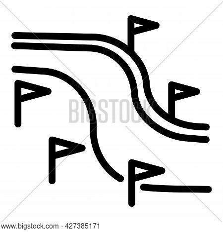 Ski Resort Track Icon. Outline Ski Resort Track Vector Icon For Web Design Isolated On White Backgro