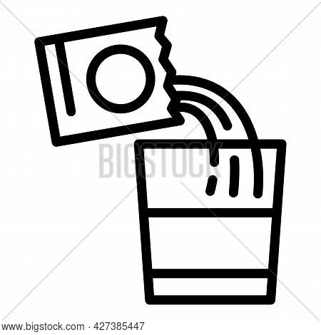 Flu Powder Package Icon. Outline Flu Powder Package Vector Icon For Web Design Isolated On White Bac