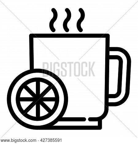 Hot Flu Lemon Tea Icon. Outline Hot Flu Lemon Tea Vector Icon For Web Design Isolated On White Backg