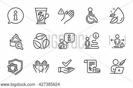 Healthcare Icons Set. Included Icon As Medical Prescription, Wash Hands, Mint Leaves Signs. Dermatol