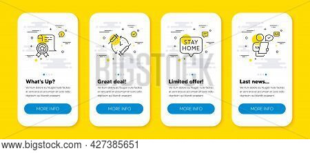 Vector Set Of Vaccination Schedule, Certificate And Stay Home Line Icons Set. Ui Phone App Screens W