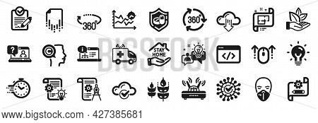 Set Of Science Icons, Such As Cloud Computing, Seo Script, Medical Tablet Icons. Ambulance Car, Stay