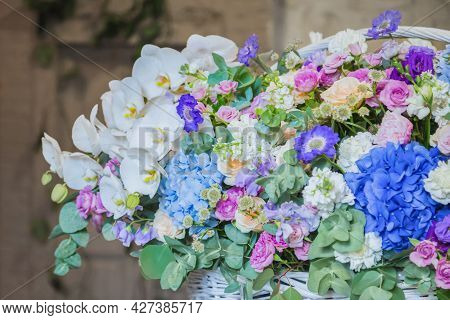 Large Floral Basket With Colorful Flowers At Workshop, Flower Shop. Floristry, Holiday, Romantic, Ce