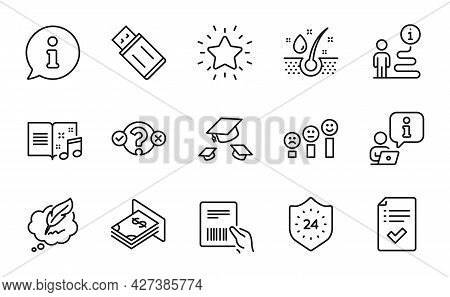 Line Icons Set. Included Icon As Customer Satisfaction, Throw Hats, Music Book Signs. Copyright Chat