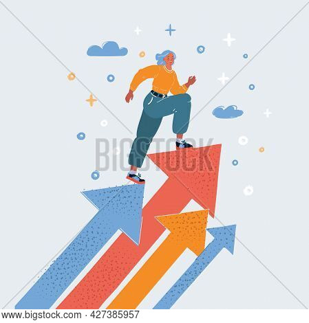 Vector Illustration Of Leader Businessman Walking Up Staircases To The Top Of Goal