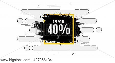 Get 40 Percent Off Paint Brush Banner. Geometric Ad Banner On Flow Pattern. Discount Square Frame. S