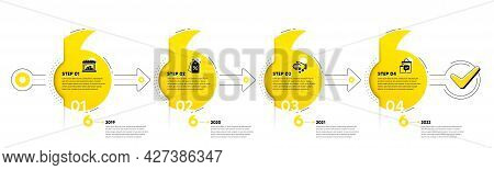 Trade Infographic Timeline With 4 Steps. Shopping Process Diagram With Trade Store, Discounts Tag, P