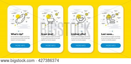 Vector Set Of Coffee Cup, Brazil Nut And Espresso Line Icons Set. Ui Phone App Screens With Line Ico