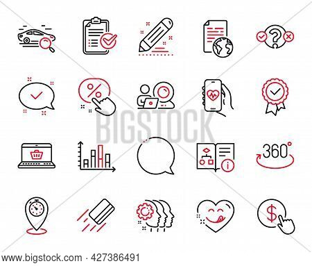Vector Set Of Technology Icons Related To Internet Document, Tested Stamp And Diagram Graph Icons. Q
