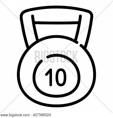 10 Kg Kettlebell Icon. Outline 10 Kg Kettlebell Vector Icon For Web Design Isolated On White Backgro