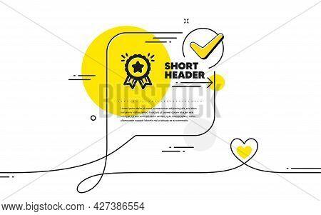 Loyalty Award Icon. Continuous Line Check Mark Chat Bubble. Bonus Points. Discount Program Symbol. L