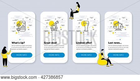 Set Of Business Icons, Such As Beer Glass, Fitness App, Brand Ambassador Icons. Ui Phone App Screens