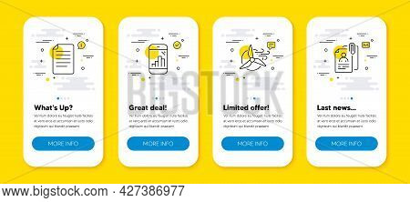Vector Set Of Graph Phone, Windmill Turbine And File Line Icons Set. Ui Phone App Screens With Line