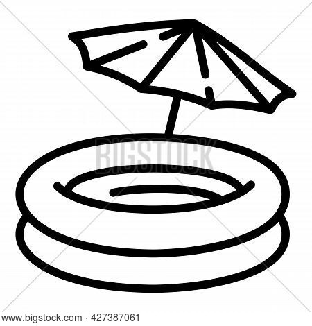 Rubber Round Pool Icon. Outline Rubber Round Pool Vector Icon For Web Design Isolated On White Backg