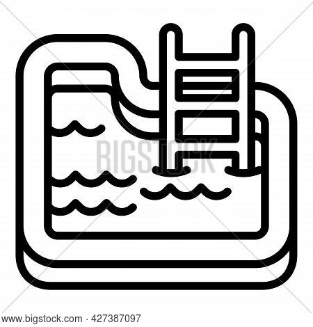 Village Pool Icon. Outline Village Pool Vector Icon For Web Design Isolated On White Background