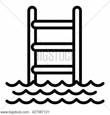 Ladder Water Pool Icon. Outline Ladder Water Pool Vector Icon For Web Design Isolated On White Backg