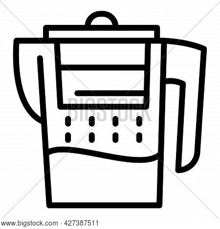 Water Filter Jug Icon. Outline Water Filter Jug Vector Icon For Web Design Isolated On White Backgro