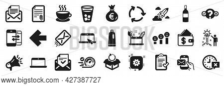 Set Of Simple Icons, Such As Megaphone, Speedometer, Attachment Icons. Left Arrow, Messenger Mail, A