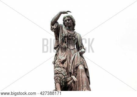 Flora Macdonald Statue At Inverness Castle Scotland On White