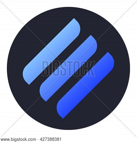 Linear Line Token Symbol Of The Defi Project Cryptocurrency Logo In Circle, Decentralized Finance Co
