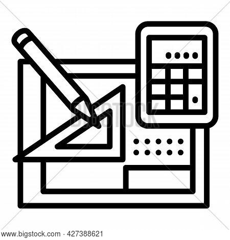 Architect Equipment Icon. Outline Architect Equipment Vector Icon For Web Design Isolated On White B