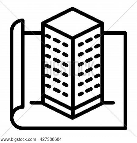 Architect Building Project Icon. Outline Architect Building Project Vector Icon For Web Design Isola