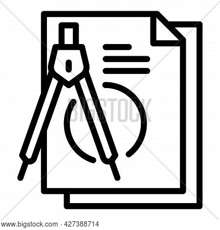 Architect Compass Paper Icon. Outline Architect Compass Paper Vector Icon For Web Design Isolated On