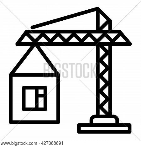 Construction Crane Icon. Outline Construction Crane Vector Icon For Web Design Isolated On White Bac