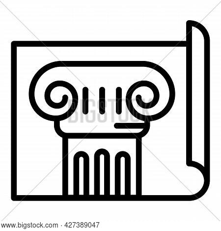 Old Column Plan Icon. Outline Old Column Plan Vector Icon For Web Design Isolated On White Backgroun