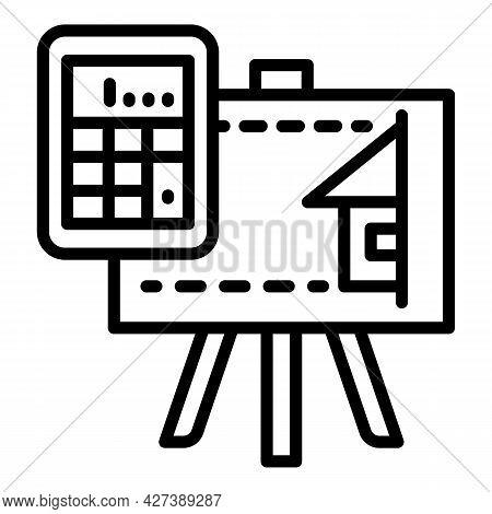 Architect Calculator Board Icon. Outline Architect Calculator Board Vector Icon For Web Design Isola