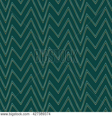 Vector Golden Teal Chevrons Green Seamless Pattern