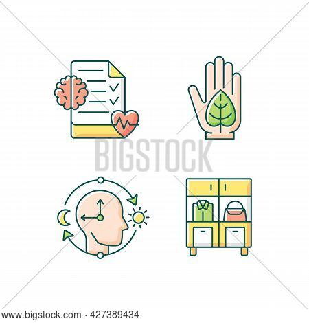 Positive Progress In Life Rgb Color Icons Set. Mental Health Awareness. Green Lifestyle. Circadian R