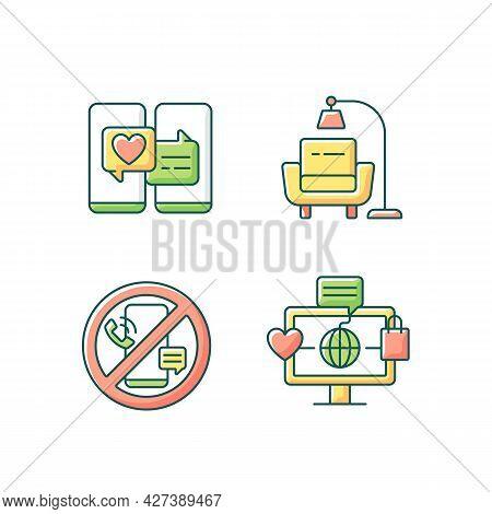 Steps Towards Healthy Living Rgb Color Icons Set. Online Dating. Minimalist Lifestyle. Digital Detox