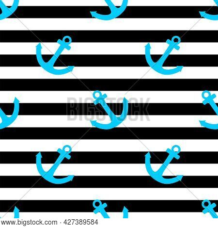 Tile Sailor Vector Pattern With Blue Anchor On Black And White Stripes Background
