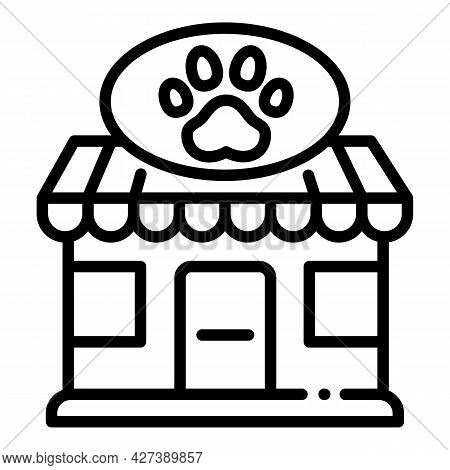 Pet Street Shop Icon. Outline Pet Street Shop Vector Icon For Web Design Isolated On White Backgroun