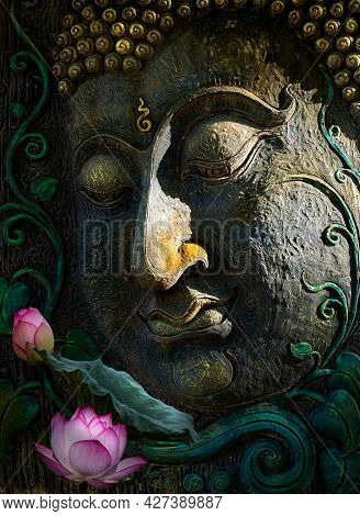 Beautiful Of Lotus Flower And Buddha Image Put Together Look Like Art . On The Face Of Buddha Has A