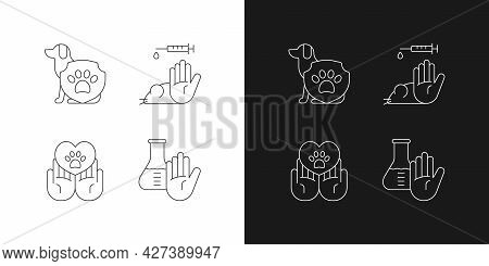 Animal Testing Linear Icons Set For Dark And Light Mode. Pet Welfare. Protection For Dogs, Mice, Rat