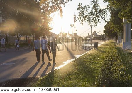 Russia, Moscow, July.20 2020: Vdnh Park. Evening Watering Of The Garden. The Eternal Coolness In The