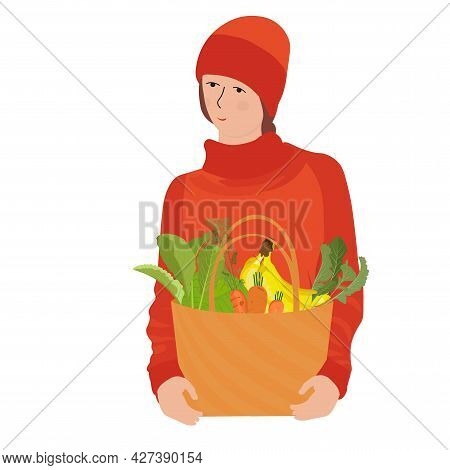 Woman Basket Groceries Vector Stock Illustration. A Basket Full Of Vegetables. Cabbage, Lettuce Leav