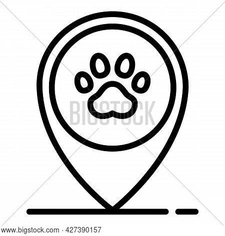 Pet Hotel Location Icon. Outline Pet Hotel Location Vector Icon For Web Design Isolated On White Bac