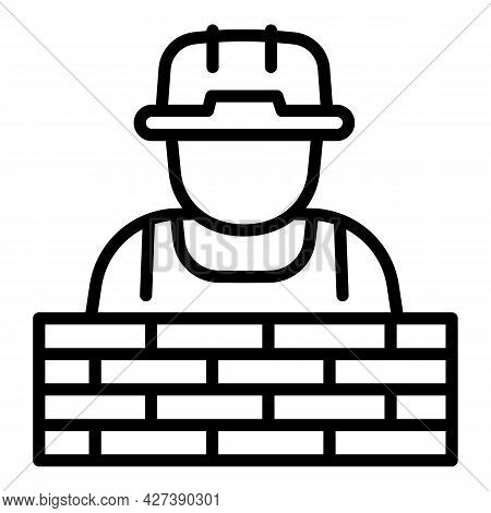 Masonry Worker Icon. Outline Masonry Worker Vector Icon For Web Design Isolated On White Background