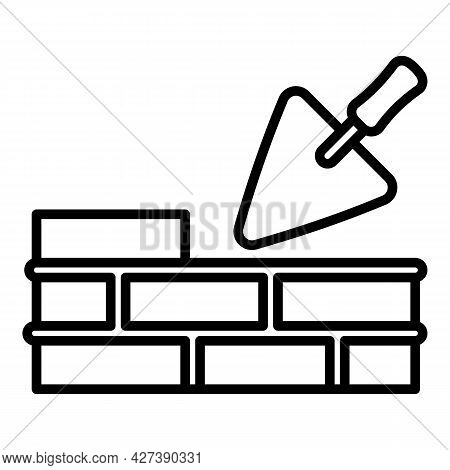 Trowel Wall Brick Icon. Outline Trowel Wall Brick Vector Icon For Web Design Isolated On White Backg