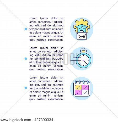 Short-term, Long-term Intern Programs Concept Line Icons With Text. Ppt Page Vector Template With Co